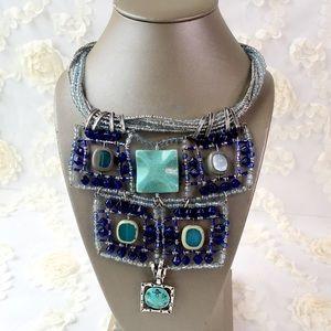 Unique rare turquoise beaded statement necklace